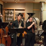 TPHS Jazz Combo A members Sean Elliot (12), Fransisco Jo (10), Zach Siegal (10), and Kurtis Shaffer (11) playing at La Costa Roasting on Oct. 27. The combo played for Banding Together, a music charity organization.